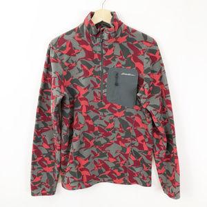 Eddie Bower 1/4 Zip Red Camo Fleece Pullover